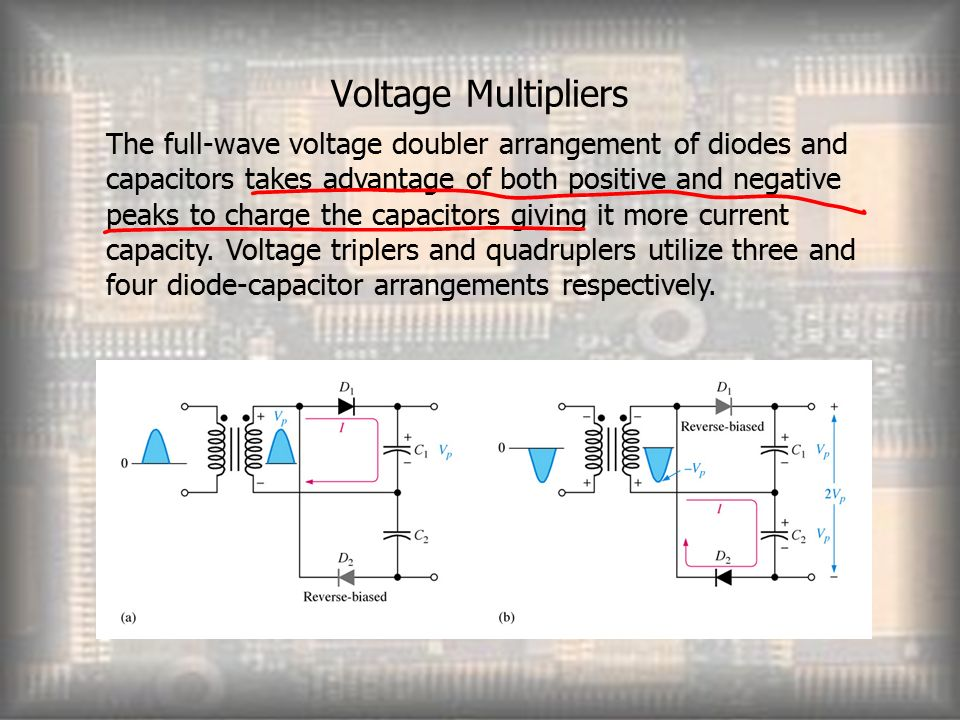 Voltage Multipliers The full-wave voltage doubler arrangement of diodes and capacitors takes advantage of both positive and negative peaks to charge the capacitors giving it more current capacity.