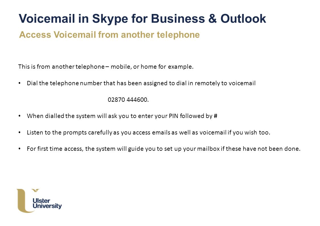 Voicemail greeting examples for business image collections ulster voice mail in skype for business outlook skype for 5 voicemail kristyandbryce image collections kristyandbryce Images