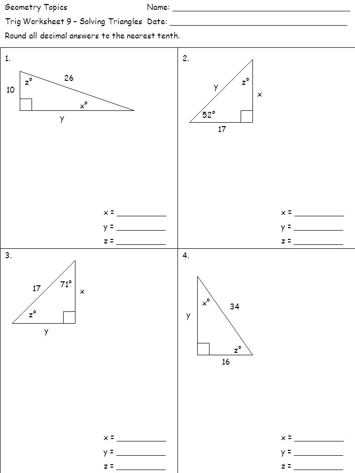 Solving Right Triangles Worksheet Answers Tecnologialinstante – Geometry Special Right Triangles Worksheet