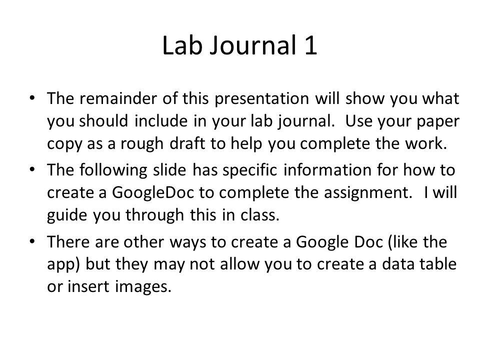 lab journal