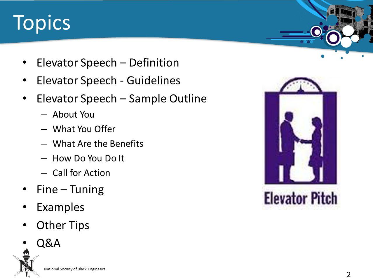 elevator speech outline