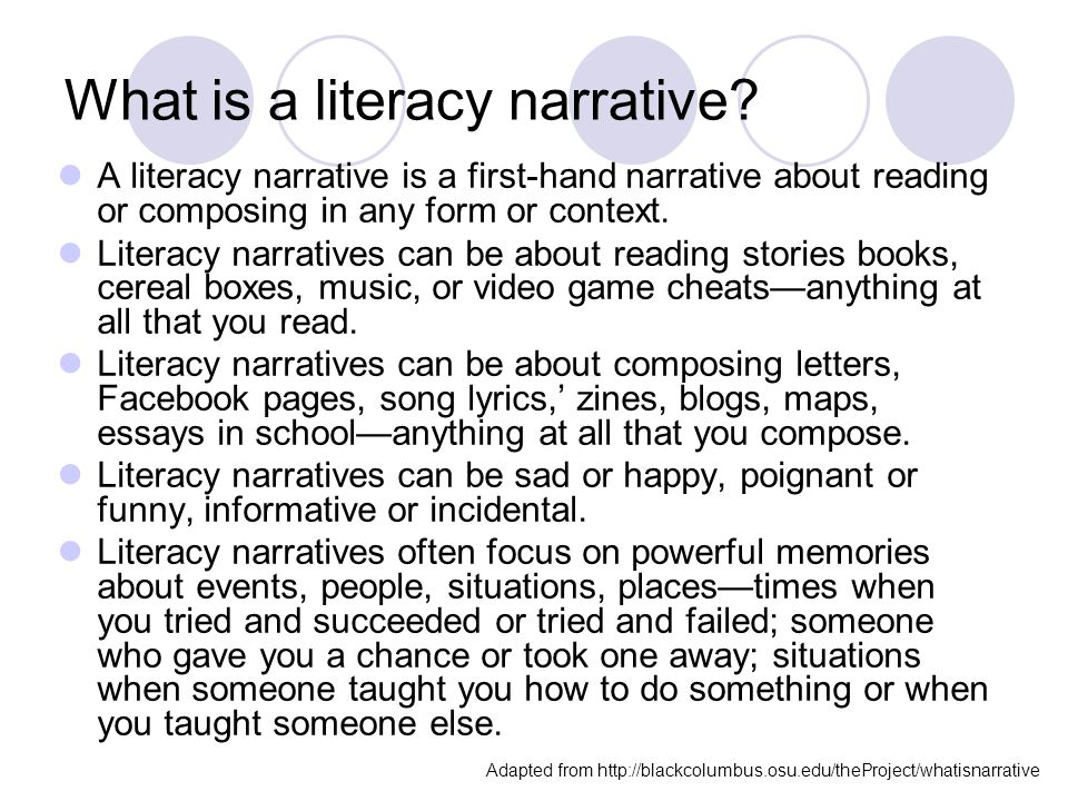 literacy narrative essay on reading and writing A narrative essay writing is the only genre of academic writing that allows the writer to expand his imagination and creativity on the fullest because the narrative essay topic must both be appealing to you can interesting to the audience who will read it so, to give you the basis for topic consideration.