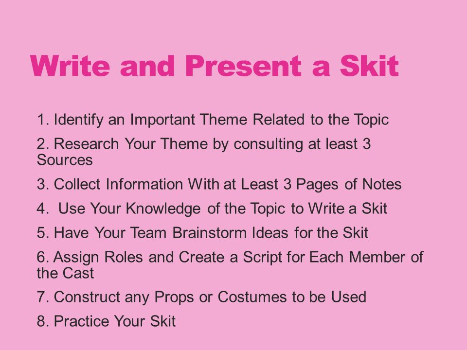 Write and Present a Skit 1. Identify an Important Theme Related to the Topic 2.