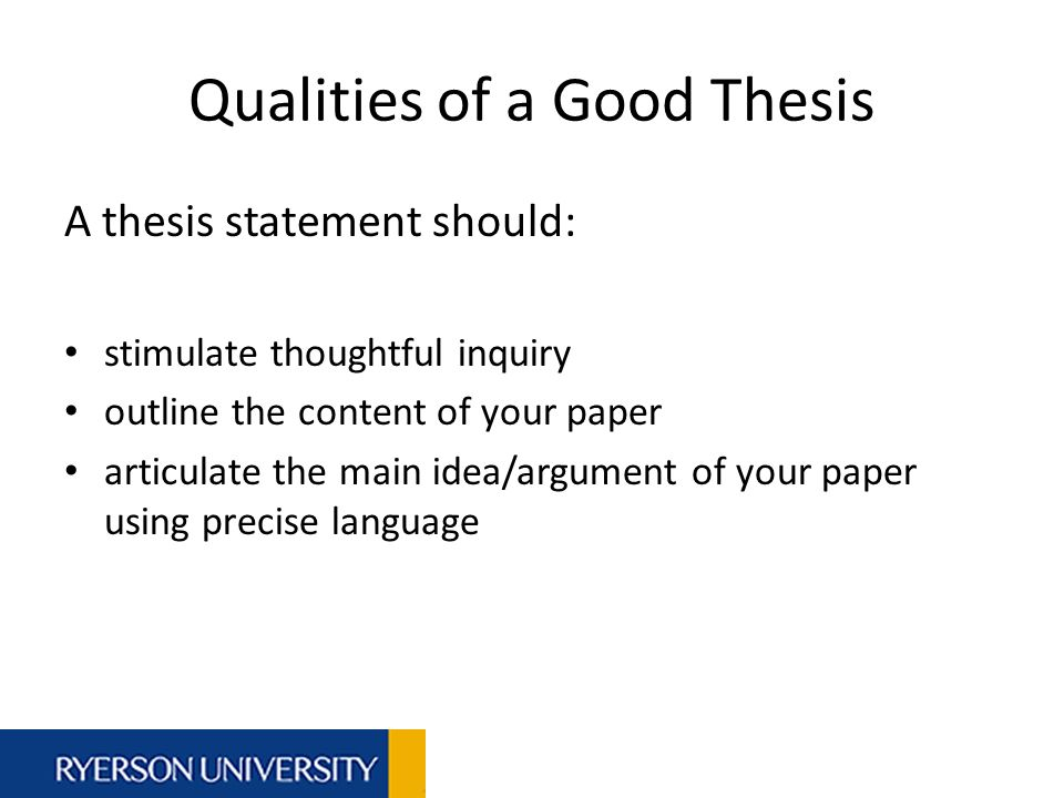 list of good thesis statements