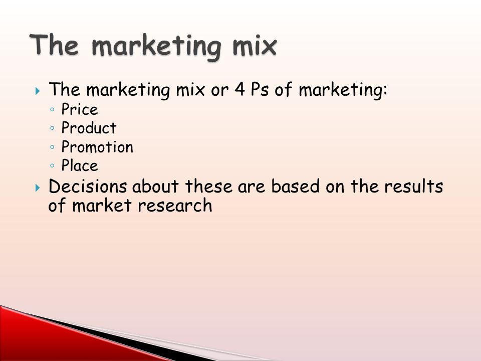 marketing mix and the 4 ps of marketing Senior secondary notes 102 module -5 marketing 201 c oncept and components of marketing mix marketing involves a number of activities to begin with, an or ganisation may decide on.
