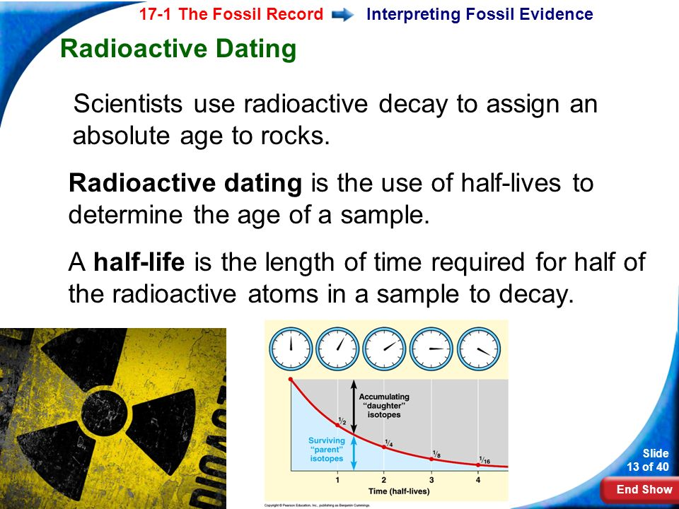 how do scientists determine the absolute age of a rock using radiometric dating