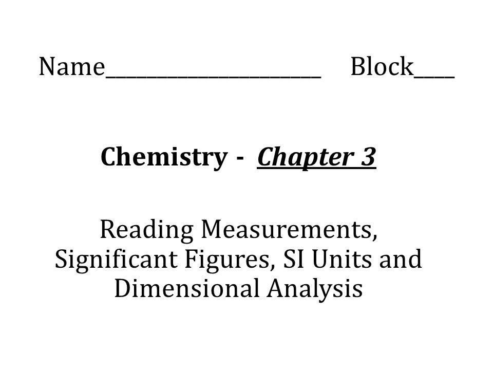 chapter one chemistry and measurements