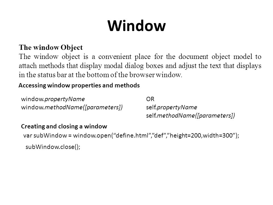 Web Programming Java Script(Window and Document Objects) AND Forms ...