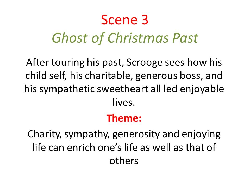 Themes in A Christmas Carol. Scene 3 Ghost of Christmas Past After ...
