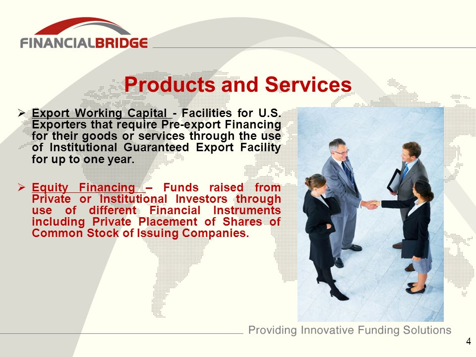 Products and Services  Export Working Capital - Facilities for U.S.