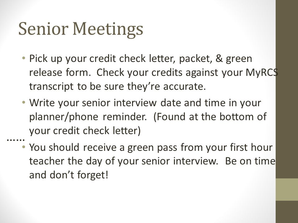 Senior Meetings Pick Up Your Credit Check Letter Packet  Green