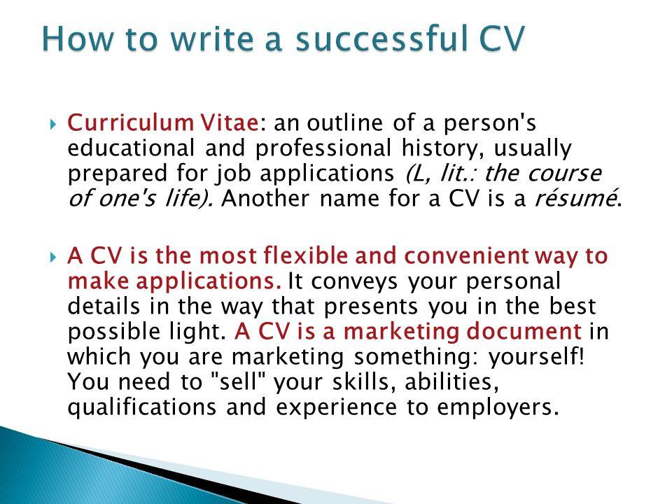 curriculum vitae outlines