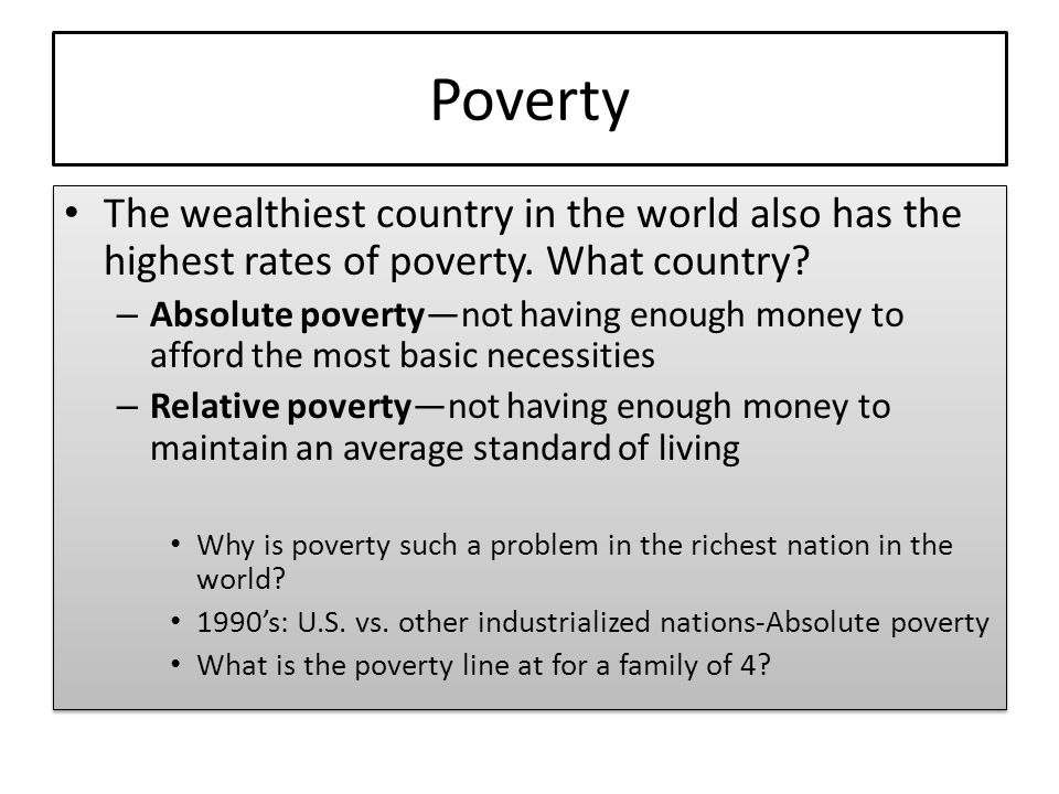 Social Stratification Discussion Outline Patterns Of Social - What country has the most poverty