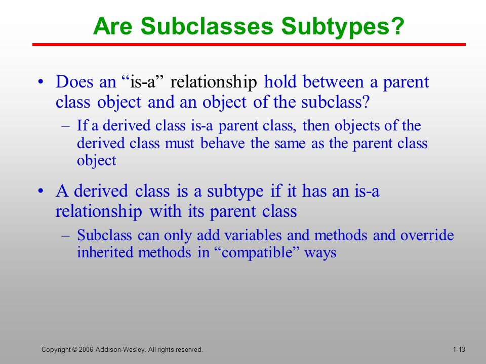 Copyright © 2006 Addison-Wesley. All rights reserved.1-13 Are Subclasses Subtypes.