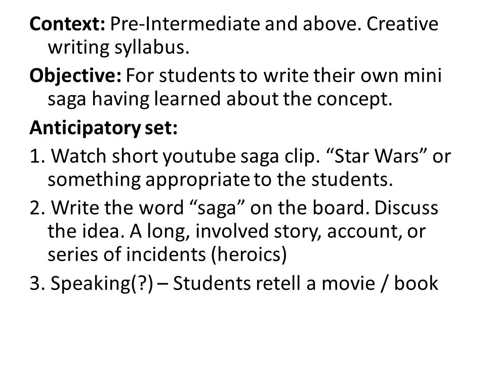 creative writing class syllabus