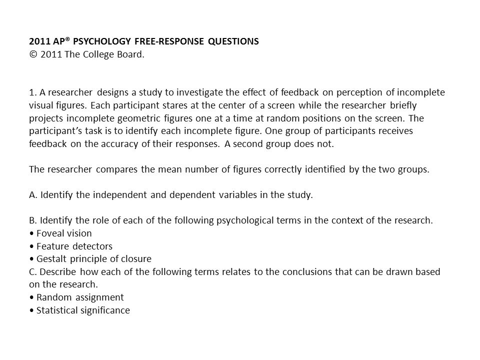 ap psychology exam review part website twitter mrs ppt 2011 apacircreg psychology response questions acirccopy 2011 the college board