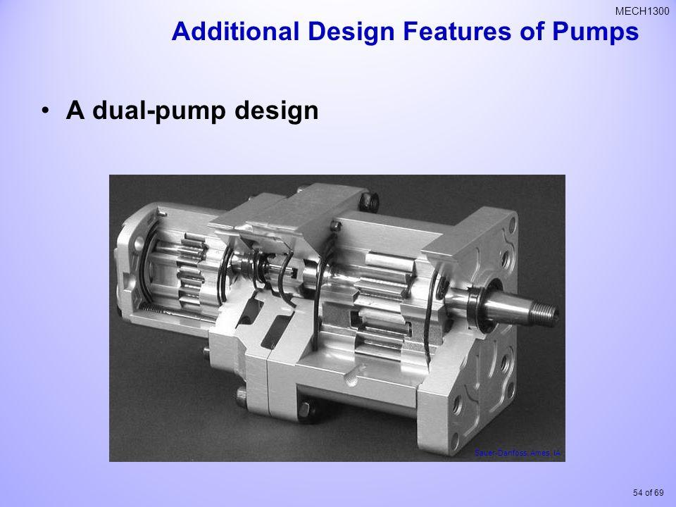 54 of 69 MECH1300 A dual-pump design Sauer-Danfoss, Ames, IA Additional Design Features of Pumps