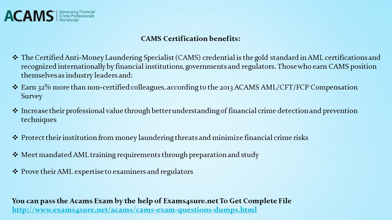 Acams cams certified anti money laundering specialists to get cams certification benefits the certified anti money laundering specialist cams credential 1betcityfo Choice Image