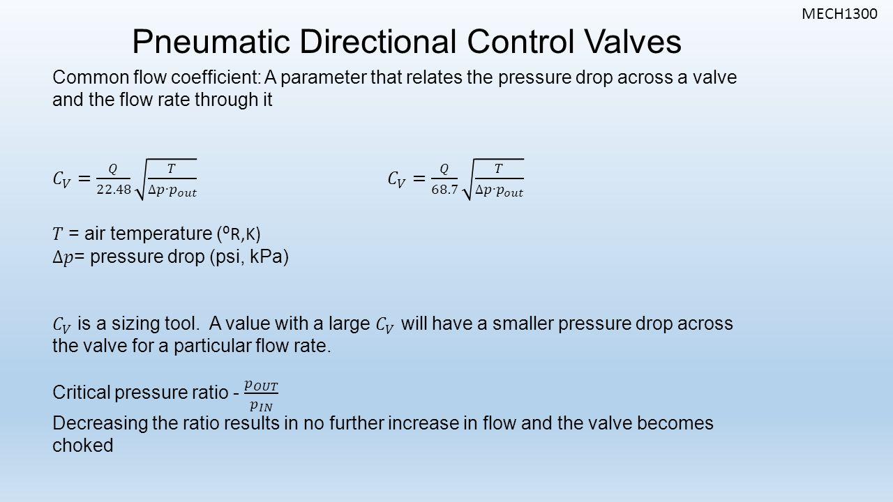 MECH1300 Pneumatic Directional Control Valves