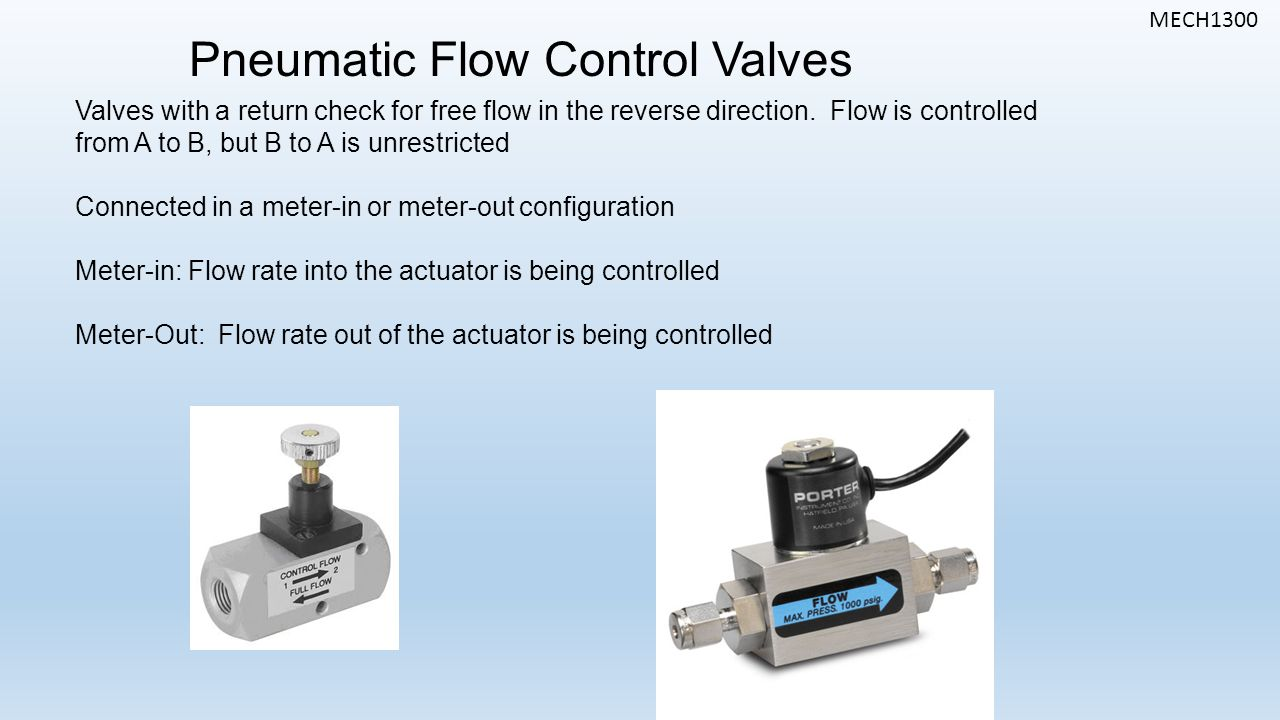 MECH1300 Pneumatic Flow Control Valves Valves with a return check for free flow in the reverse direction.