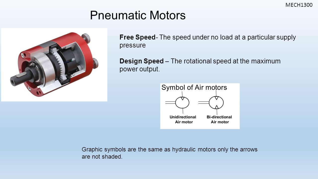 MECH1300 Pneumatic Motors Free Speed- The speed under no load at a particular supply pressure Design Speed – The rotational speed at the maximum power output.