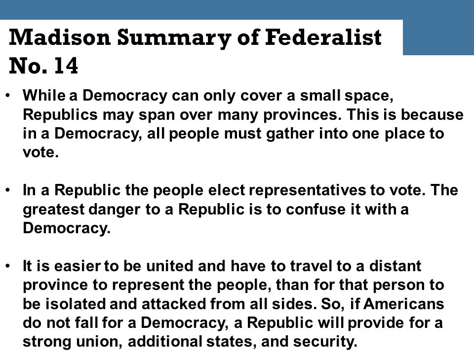 federalist essay number 10 summary Of all the federalist papers written by john jay, james madison, and alexander hamilton, perhaps the most famous and the one most quoted is federalist no 10, by madison many people had argued.