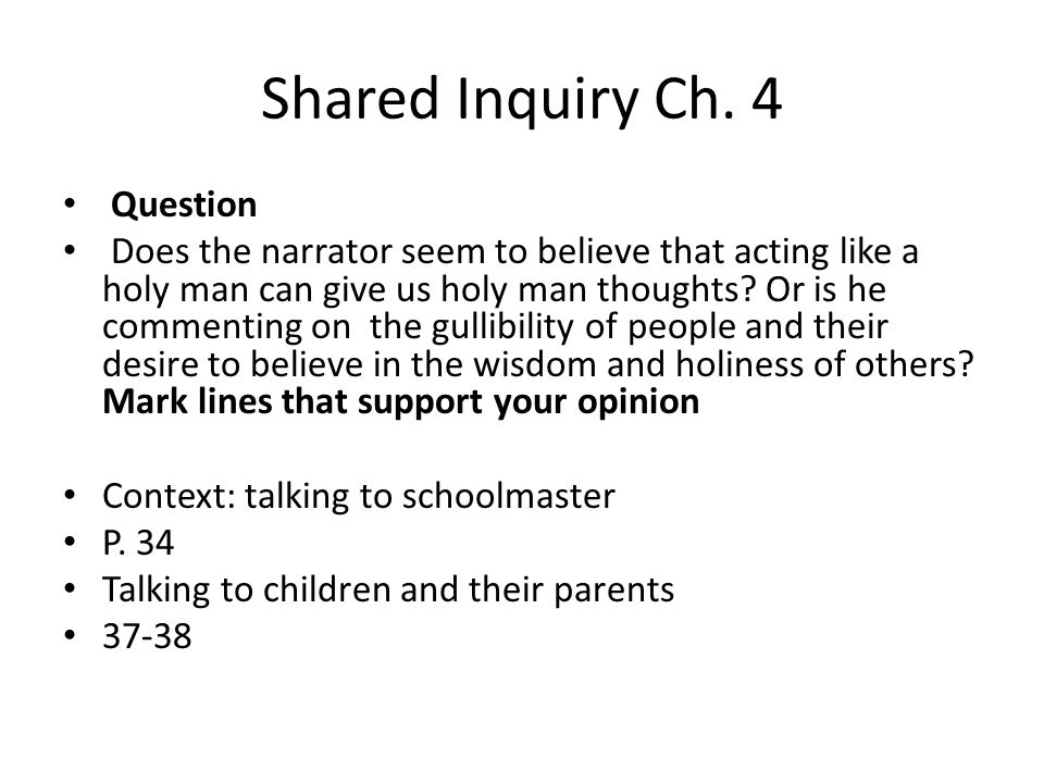 Shared Inquiry Ch.