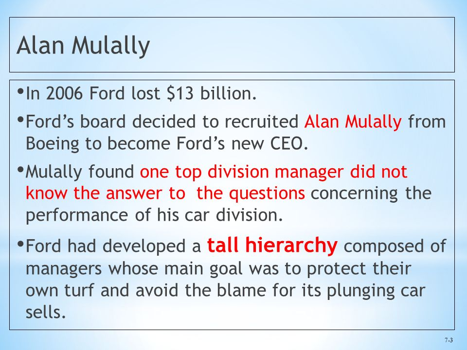 7-3 Alan Mulally In 2006 Ford lost $13 billion.
