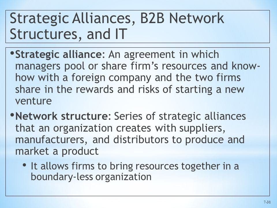 7-31 Strategic Alliances, B2B Network Structures, and IT Strategic alliance: An agreement in which managers pool or share firm's resources and know- how with a foreign company and the two firms share in the rewards and risks of starting a new venture Network structure: Series of strategic alliances that an organization creates with suppliers, manufacturers, and distributors to produce and market a product It allows firms to bring resources together in a boundary-less organization