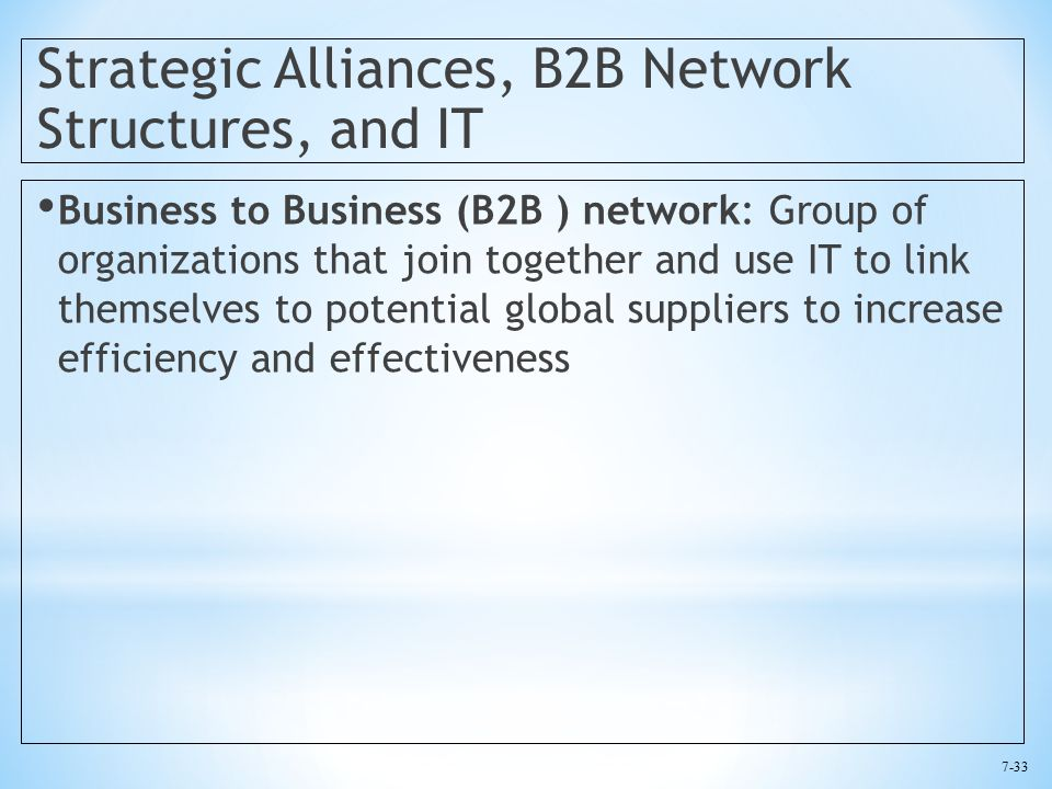 7-33 Strategic Alliances, B2B Network Structures, and IT Business to Business (B2B ) network: Group of organizations that join together and use IT to link themselves to potential global suppliers to increase efficiency and effectiveness