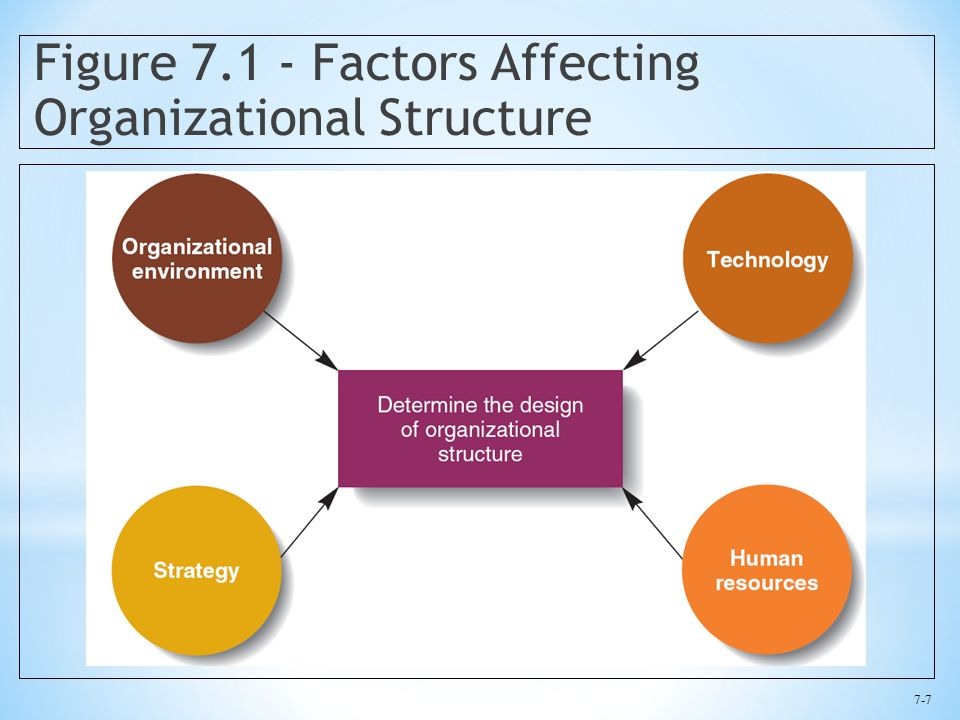 7-7 Figure 7.1 - Factors Affecting Organizational Structure
