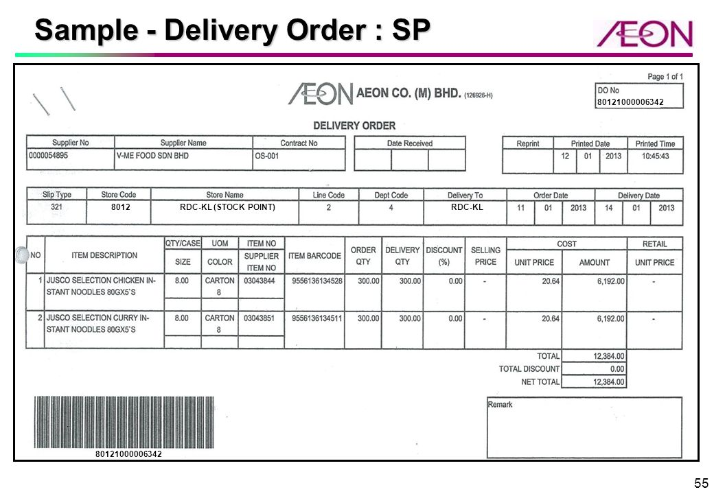 AEON KL RDC Supplier Briefing 27 th 28 th March 2013 AEON CO M – Delivery Order Sample