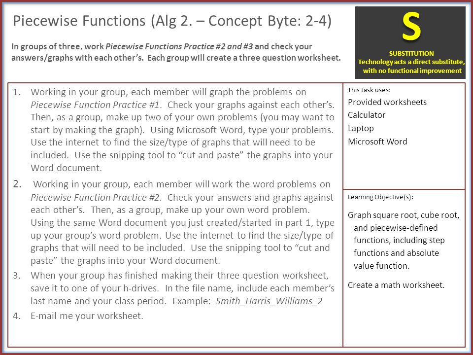 IMPACT SAMR Cover Sheet Task OverviewLearning Objectives – Piecewise Functions Word Problems Worksheet