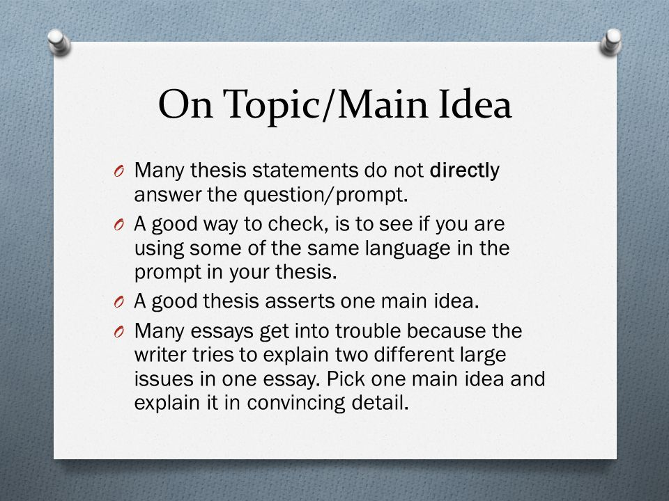 Thesis Statement Questions