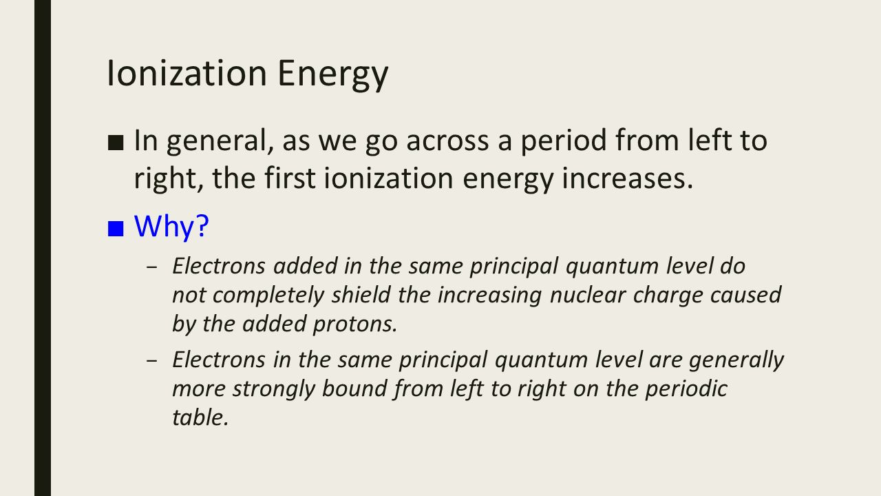 Across a period in the periodic table ionization energy generally unit 6 atomic structure advanced periodic trends ppt download 69 ionization gamestrikefo image collections gamestrikefo Choice Image