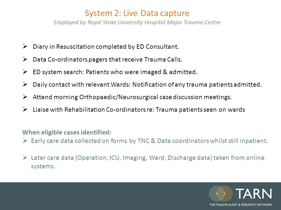 Identifying Cases The Trauma Audit Research Network TARN Data
