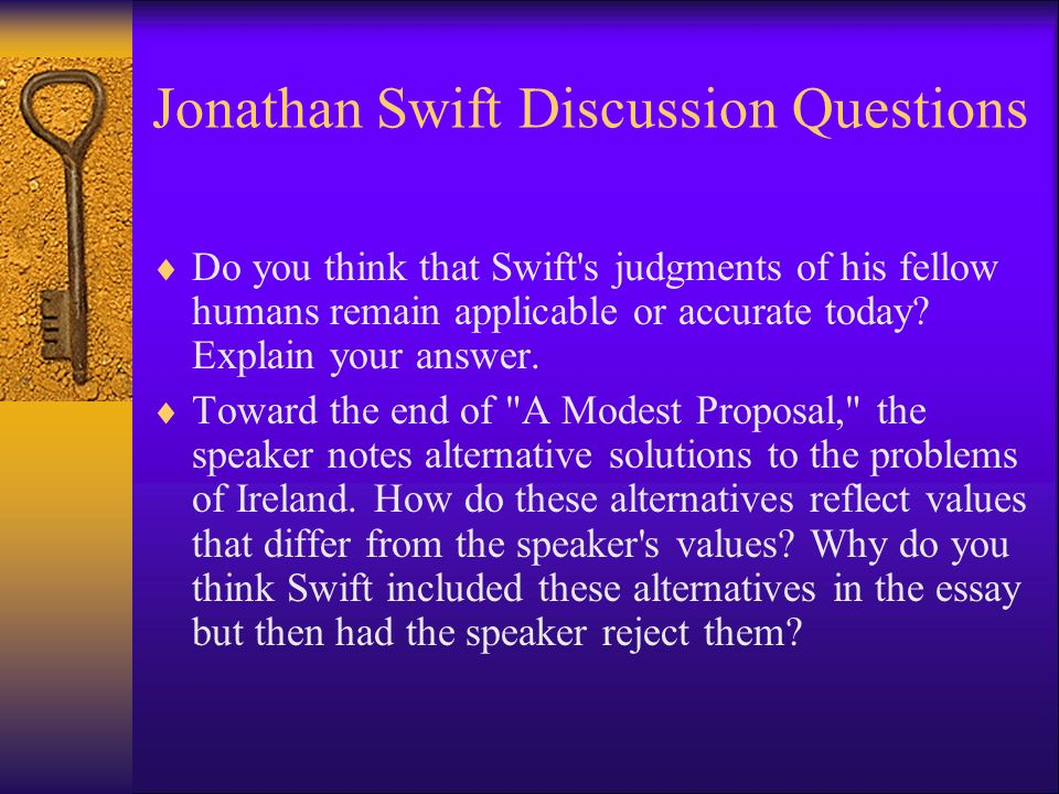 essay a modest proposal swift Swift's titled his essay, a modest proposal- which term best describes his use of the word modest irony.