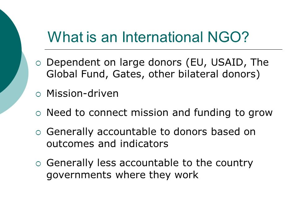 What is an International NGO.
