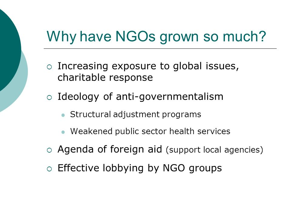 Why have NGOs grown so much.