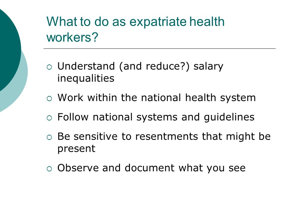 What to do as expatriate health workers.