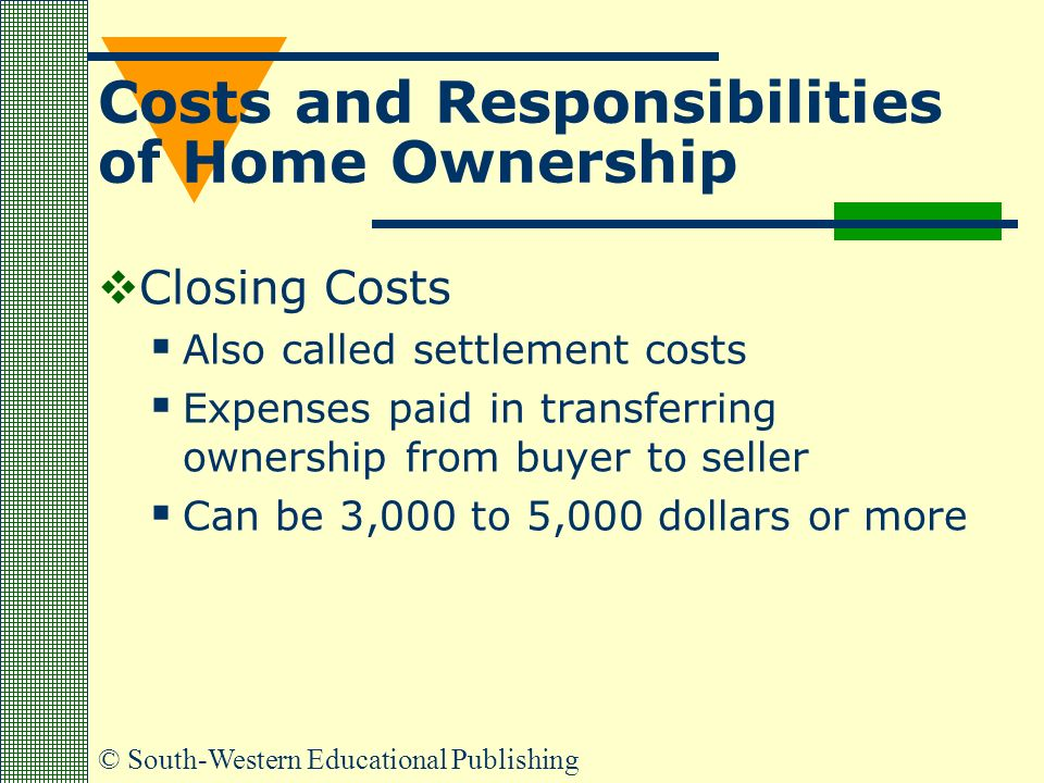 © South-Western Educational Publishing Costs and Responsibilities of Home Ownership  Closing Costs  Also called settlement costs  Expenses paid in transferring ownership from buyer to seller  Can be 3,000 to 5,000 dollars or more