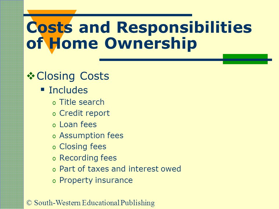 © South-Western Educational Publishing Costs and Responsibilities of Home Ownership  Closing Costs  Includes o Title search o Credit report o Loan fees o Assumption fees o Closing fees o Recording fees o Part of taxes and interest owed o Property insurance