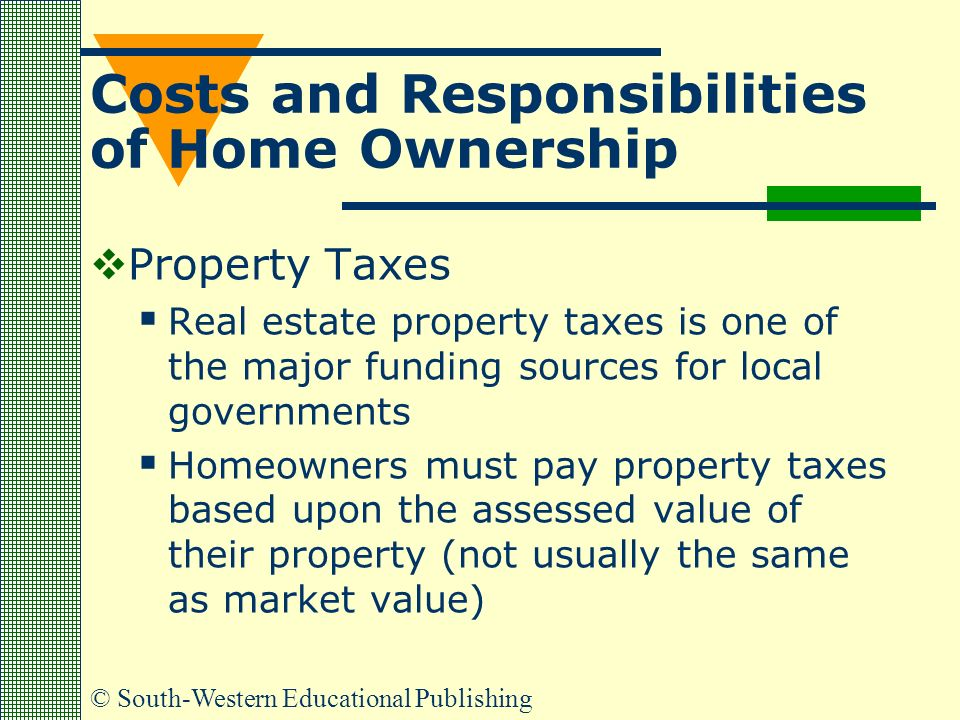 © South-Western Educational Publishing Costs and Responsibilities of Home Ownership  Property Taxes  Real estate property taxes is one of the major funding sources for local governments  Homeowners must pay property taxes based upon the assessed value of their property (not usually the same as market value)