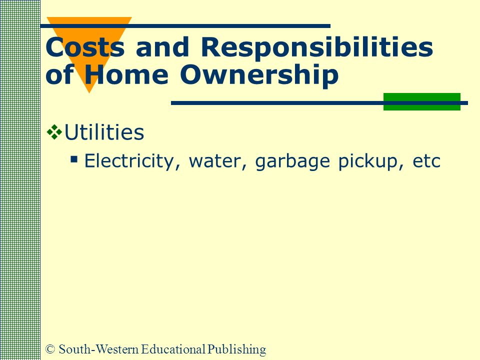 © South-Western Educational Publishing Costs and Responsibilities of Home Ownership  Utilities  Electricity, water, garbage pickup, etc