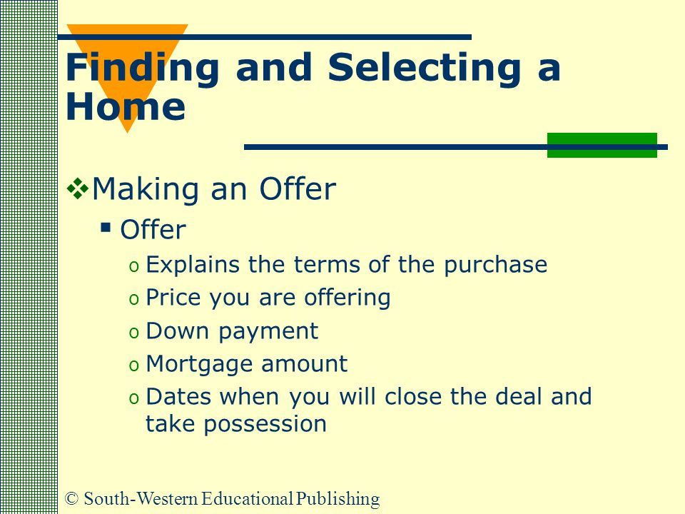 © South-Western Educational Publishing Finding and Selecting a Home  Making an Offer  Offer o Explains the terms of the purchase o Price you are offering o Down payment o Mortgage amount o Dates when you will close the deal and take possession