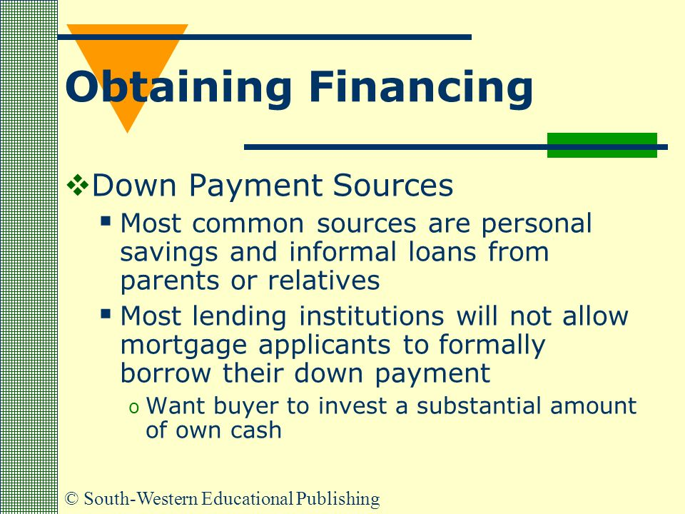 © South-Western Educational Publishing Obtaining Financing  Down Payment Sources  Most common sources are personal savings and informal loans from parents or relatives  Most lending institutions will not allow mortgage applicants to formally borrow their down payment o Want buyer to invest a substantial amount of own cash