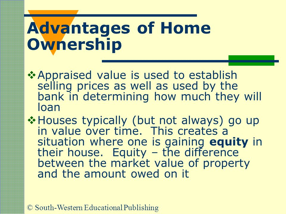 © South-Western Educational Publishing Advantages of Home Ownership  Appraised value is used to establish selling prices as well as used by the bank in determining how much they will loan  Houses typically (but not always) go up in value over time.