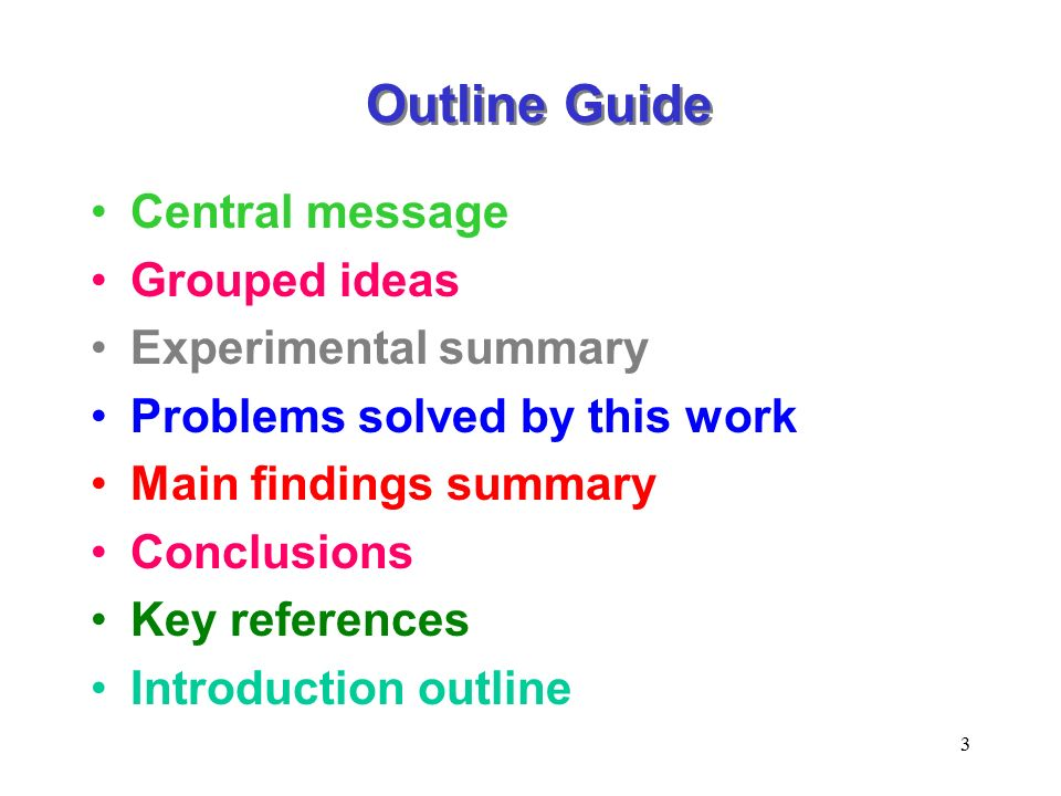 guide of an outline in a research paper