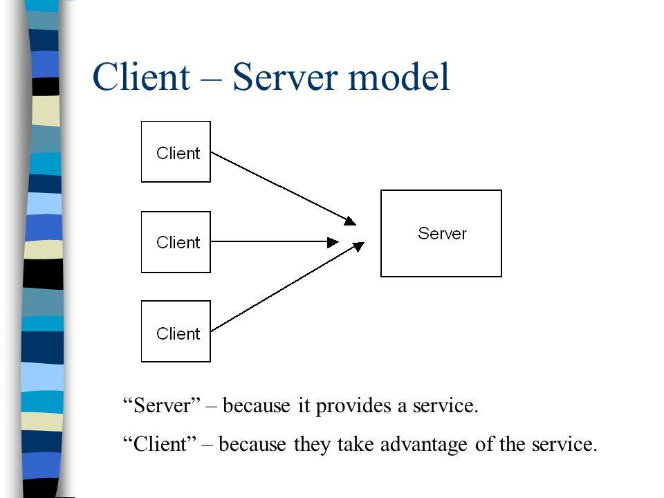 Client – Server model Server – because it provides a service.