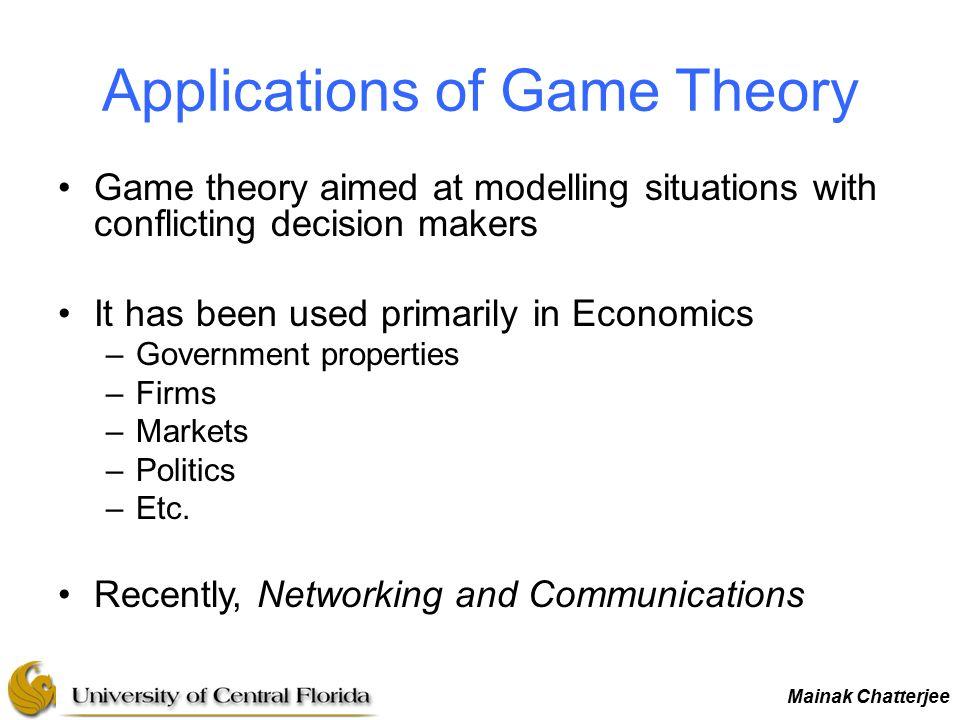 Mainak Chatterjee Game Theory For Networks Mainak Chatterjee